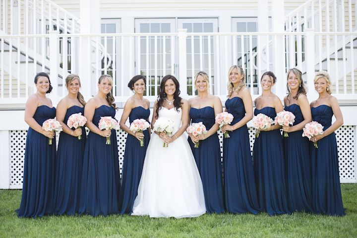 Long Navy Bridesmaids Dresses with Pink Bouquets