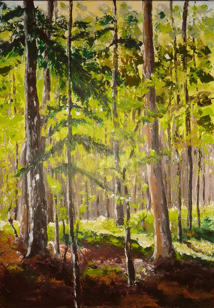 """Again new knife painting...why not? """"Undergrowth in Combe obscure ... a forest of beech and fir""""; Combe obscure is a forest in """"vallon de la Jarjatte"""", Lus La Croix Haute, France. Green colors of trees are very very difficult to do!"""