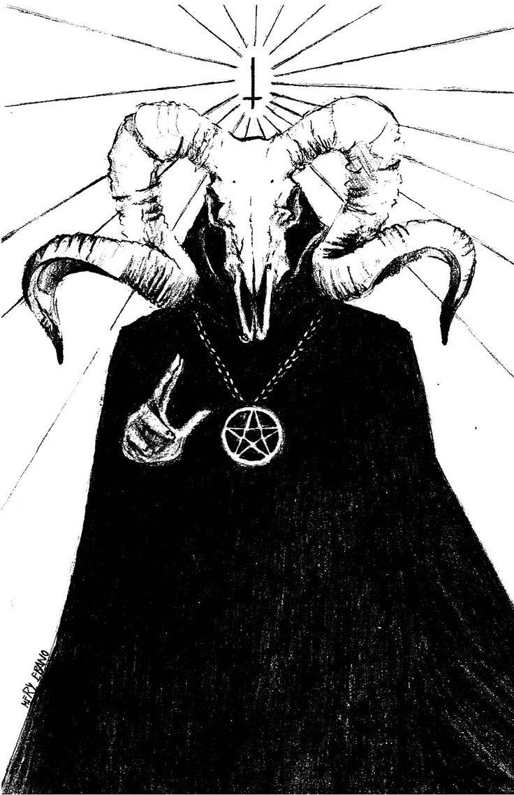 Черно белый рисунок сатаны
