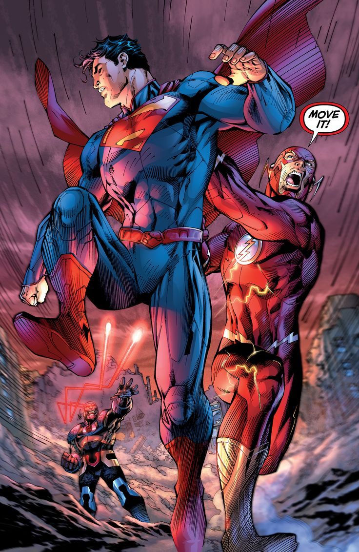 Superman and Flash out running Darkseid's Omega Beam (Justice League # 5, Jim Lee art)