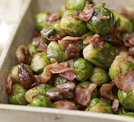 500g Brussels sprouts, trimmed 140g diced pancetta 200g cooked chestnuts, broken into large pieces 1 tbsp light muscovado sugar 200ml vegeta...