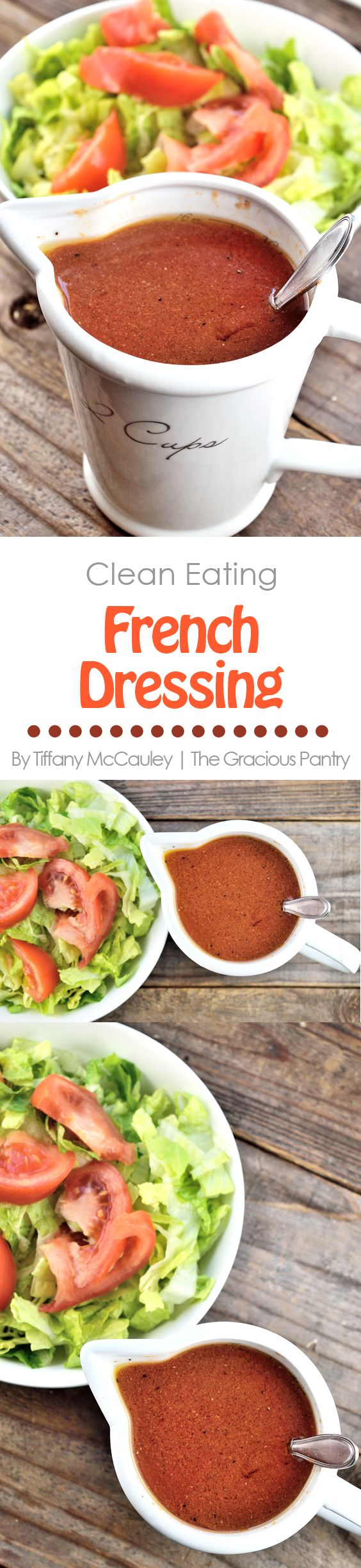 This delicious, Clean Eating French Dressing is the perfect replacement for the chemical-ridden version you buy at the store. And it's totally yummy!