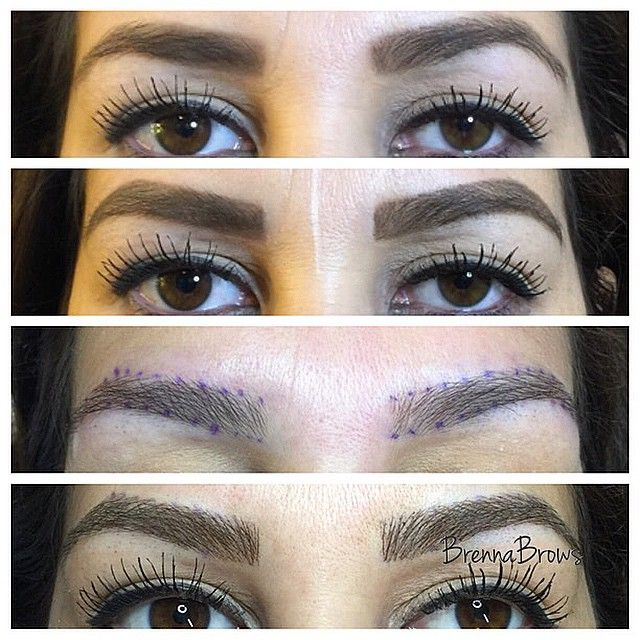 """Hair Stroke Eyebrow Tattoo procedure today. Top Photo: How my client came in with her eyebrows filled in already. Second Photo: Her eyebrows with my slight adjustment in pencil design. Third Photo:  Numb and with guides in place. Last Photo: Immediately following her procedure. www.BrennaBrows.com. #thefreshset #hairstrokeeyebrows"""
