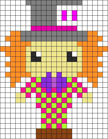 Hatter Alice in Wonderland perler bead pattern... Could be used for Rainbow Loom