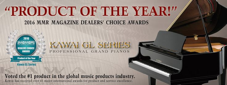 "Kawai's GL Series Grand Pianos were named ""2016 Product of the Year"" for the entire music products industry... not just pianos."