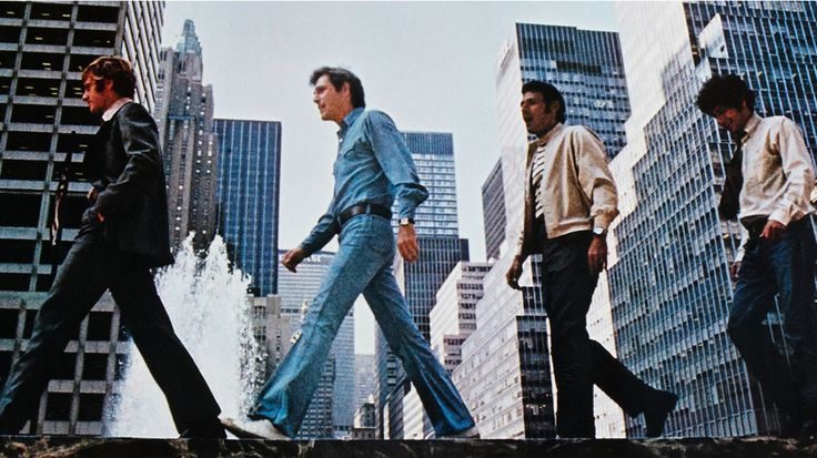 Robert Redford, George Segal, Ron Leibman and Paul Sand in The Hot Rock, 1972
