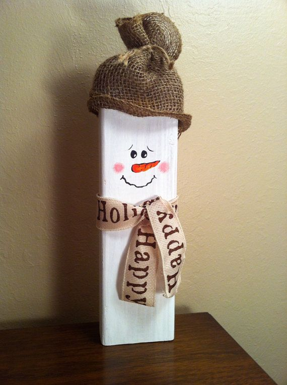 Wooden Snowman with Burlap hat and ribbon scarf- Winter/ Christmas Decoration on Etsy, $15.00