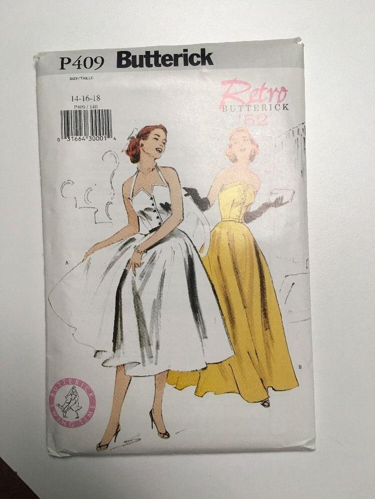 Butterick P409 Retro 1950s Dress 1952 rockabilly/swing dress Sz14-16-18 new FF sld 12+fr 8/27/16