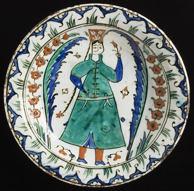 Turkey, Iznik Dish, Ottoman Period,17th c.