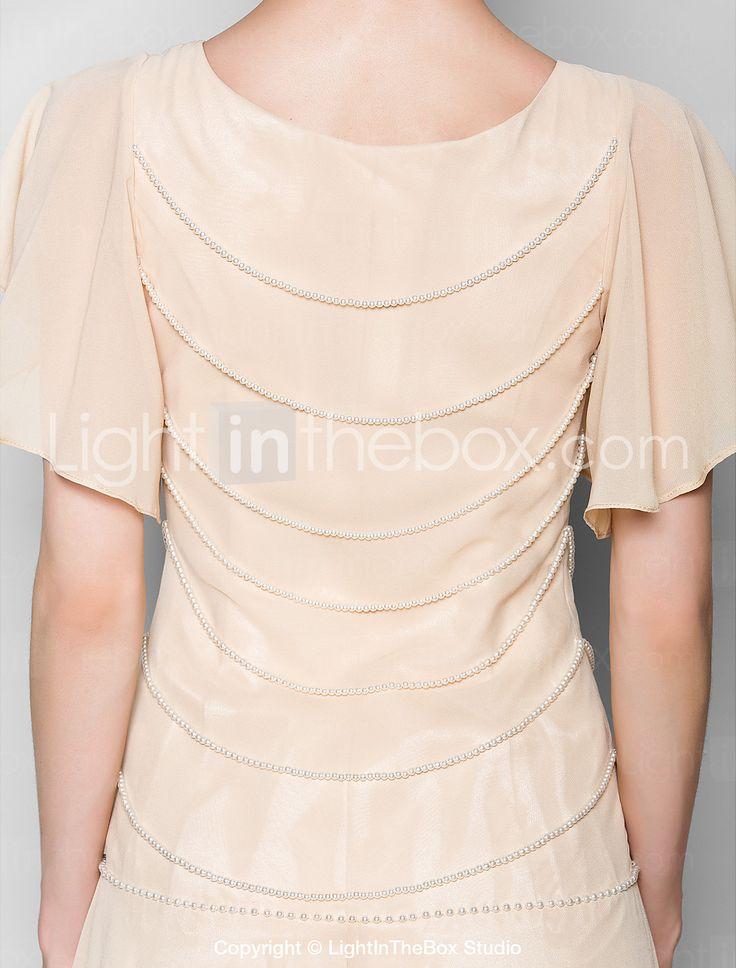 Lanting Bride® Fourreau / Colonne Grande Taille Petite Robe de Mère de Mariée Longueur Sol Manches Courtes Mousseline de soie - Détail de 2467428 2017 à €99.95
