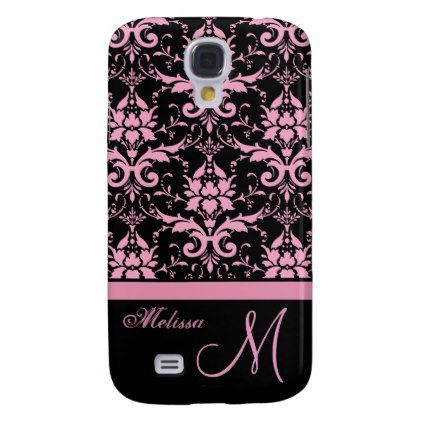 Pink & black victorian damask Name & Monogram Samsung Galaxy S4 Cover - vintage gifts retro ideas cyo