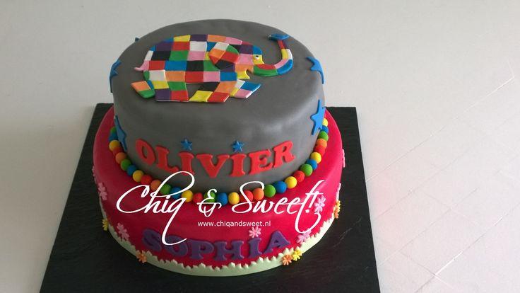 Vrolijke taart van Elmer de Olifant. Was voor de verjaardag van een tweeling (jongen/meisje) met stoere en vrolijke versiering.