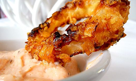 Oven-Fried Onion Rings with Horseradish Dipping Sauce
