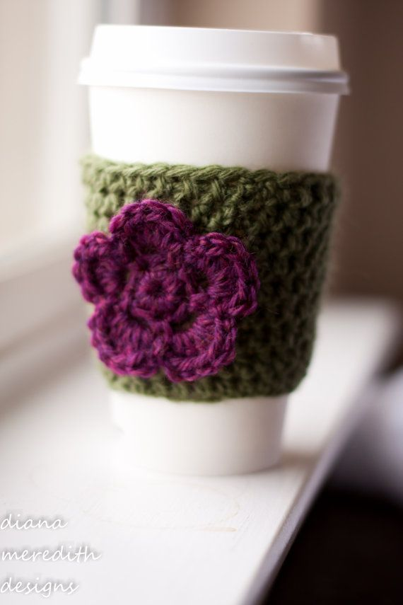 Crochet Coffee Cup Cozy Green with Ruby by dianameredithdesigns, $10 ...