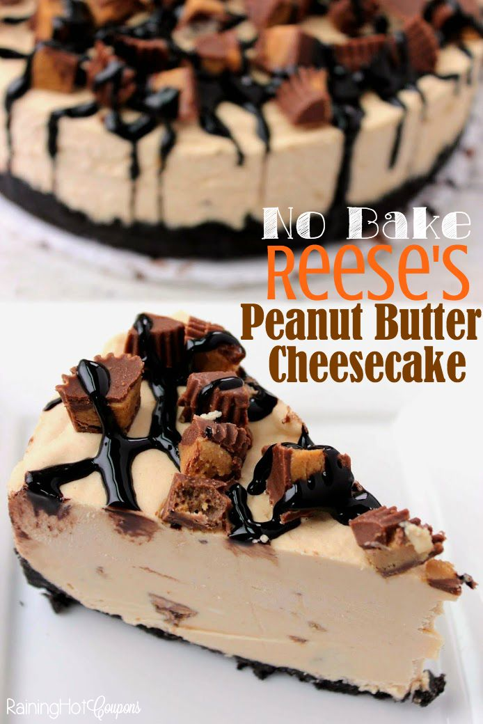 Reese's Peanut Butter No Bake Cheesecake - This No Bake Reese's Peanut Butter Cheesecake is loaded with smooth and creamy peanut butter and Reese's Peanut Butter Cups!
