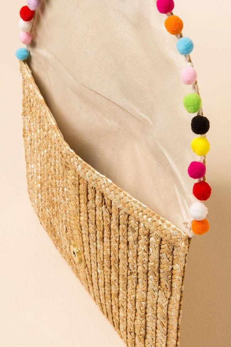 Rainbow Pom Pom Straw Clutch - multi-clinside