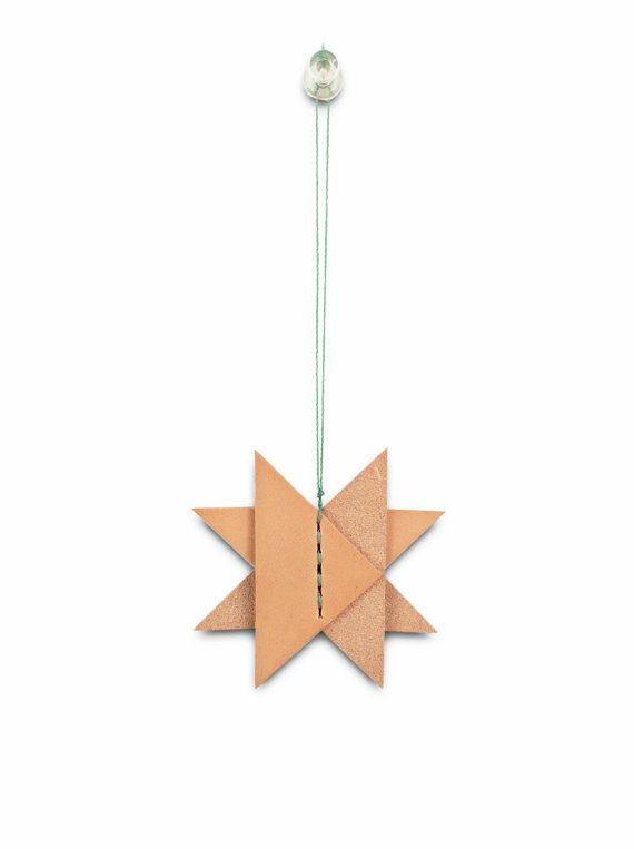 1 Christmas Star Leather Ornament Holiday Leather by KLNewYork