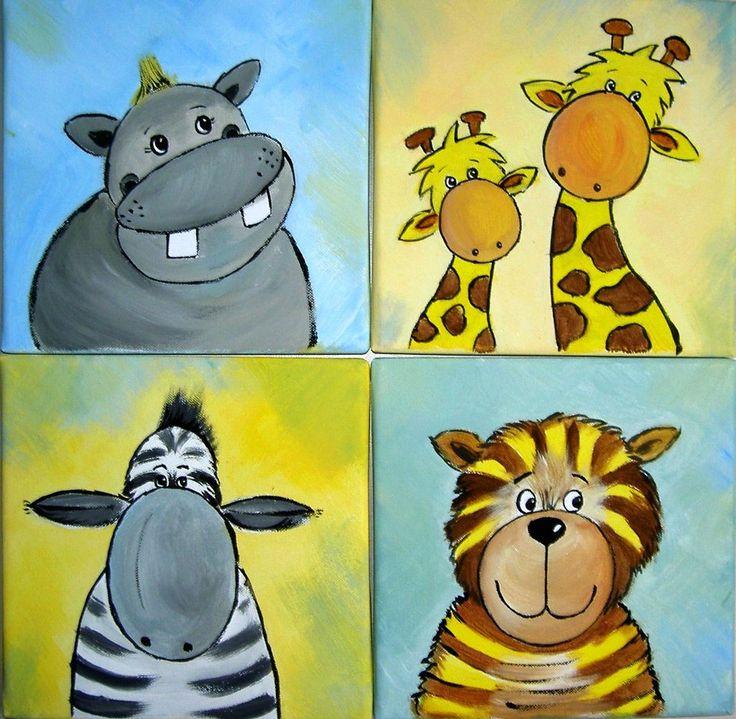 4 Tierbilder, Dschungel, Giraffe, Tiger, Safari, Afrika