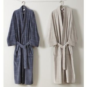 Men's Text Check Robe by Baksana