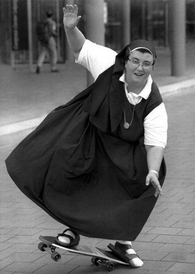 I love this nun shredding in her birkenstocks