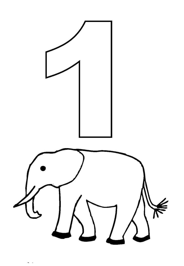 Animal Numbers One Elephant