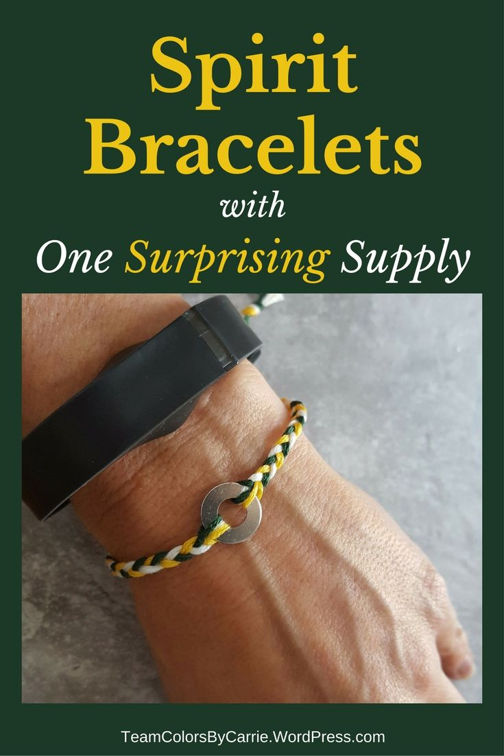Create this team spirit bracelet from embroidery floss and a surprise ingredient from the hardware store!