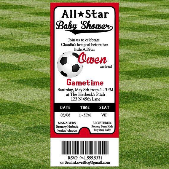 Soccer Baby Shower Invitation by SewInLoveBlogShop on Etsy, $12.00