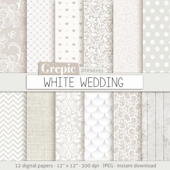 """Wedding digital paper: """"WHITE WEDDING"""" with romantic white wedding bridal patterns for wedding invites, save the date cards, scrapbooking #patterns #scrapbooking"""