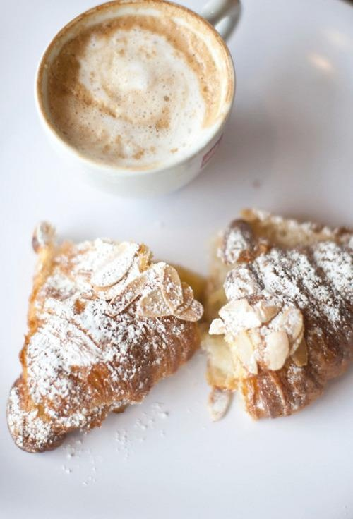 coffee and almond croissants