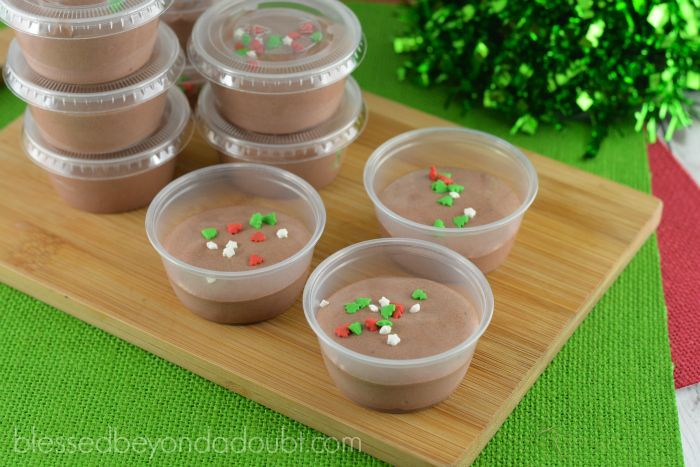 All I want for Christmas is a Santa's Hot Cocoa Pudding Shot! They are simply heavenly! But beware you will want more than one. And oh so easy to make! How to Make Santa's Hot Cocoa Pudding Shots Ingredients 1 small package chocolate instant pudding mix 3/4 cup milk 1 tub of whipped topping, 8 ounces 3/4 cup Irish cream liqueur Sprinkles, if desired. Directions Whisk pudding, liqueur and milk together in a bowl until {Read More}