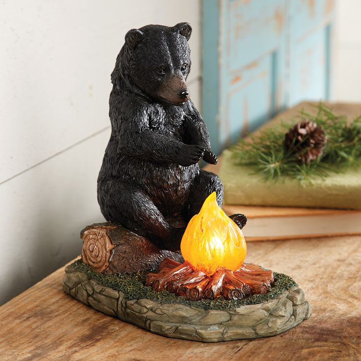 Bear Sitting by Campfire Accent Lamp