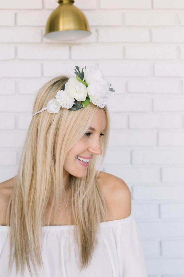Diy hair accessories for weddings - White Flower Crown Diy White Flower Crownwhite Flowershairstyle Weddingwedding Dayhair Accessorieswedding Inspiration