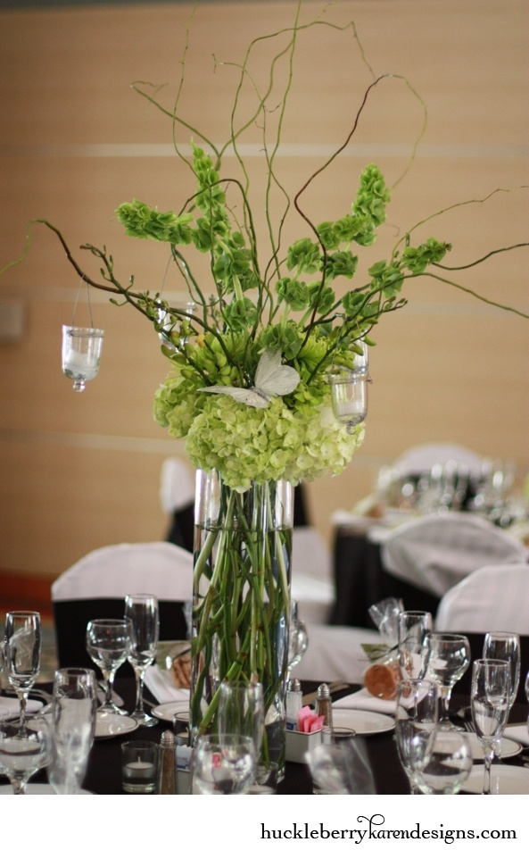 Curly Willow And Bells Of Ireland Centerpiece With Green