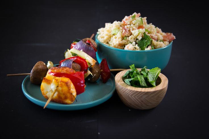 Grilled Vegetable and Haloumi Skewers served with a Delicious Couscous Tabouli