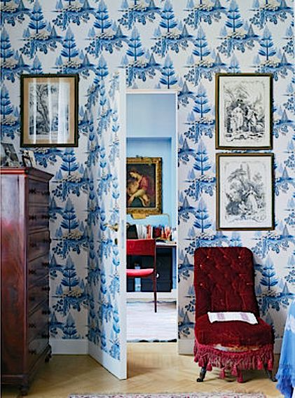 Zoffany's Fleurs Rococo in Benedetta Cibrario's Milan apartment. via T magazine, photo by Annabel Elston