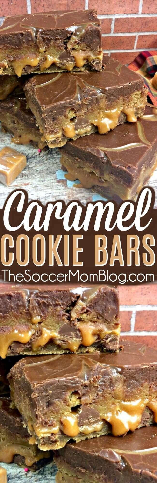Cookie...caramel...more cookie...topped with rich chocolate ganache - these Salted Caramel Chocolate Chip Cookie Bars are out of this world! #chocolate #desserts via @https://www.pinterest.com/soccermomblog