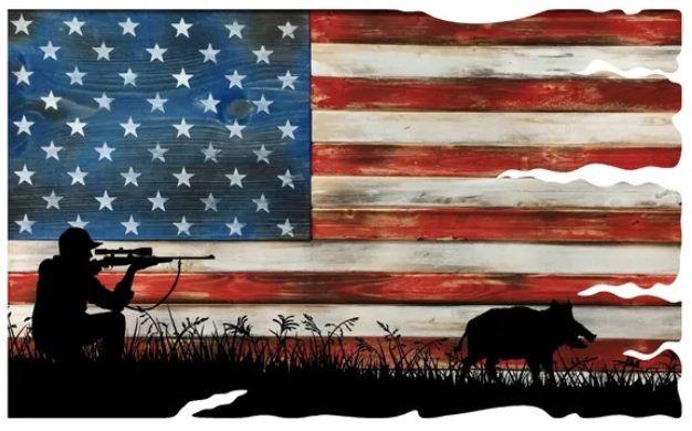 Hunting American Flag Rustic Style Tattered Sign Metal Art Etsy In 2020 Art Sign Art Metal Art