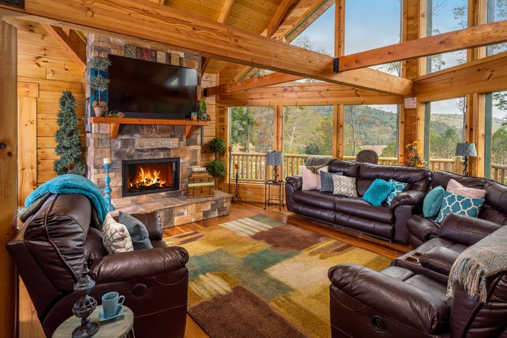 Custom stone log home fireplace