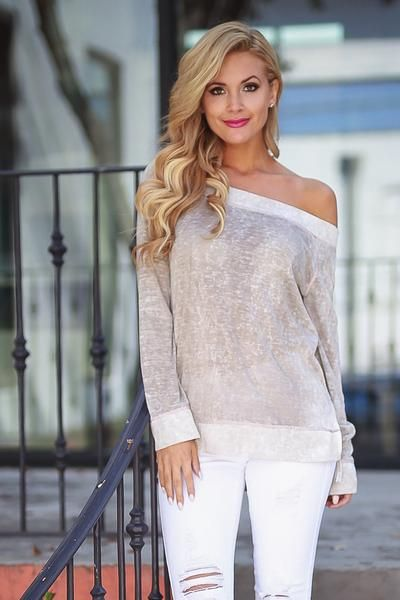 Beach Town Vintage Wash Top - Taupe
