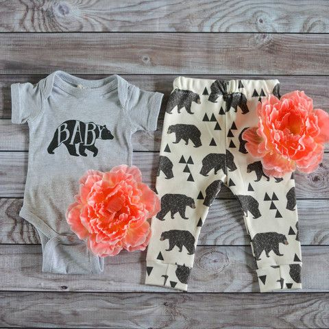"""Black Bear Leggings. """"Bear"""" with us and buy these leggings for your little cub! Onesie also available at www.nora-gray.com. Mamma bear should always spoil her baby bear. 100% Organic Cotton Leggings. Support handmade boutiques and purchase from Nora Gray! A small town Indiana boutique located in Berne, IN. We specialize in small makers across the USA."""