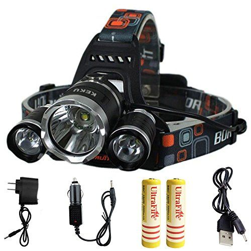KEKU High Power LED Headlamp(5000 Lumens MAX) Rechargeable Waterproof HeadLamp Flashlight on the head headlamp with 3 Xm-l T6 4 Modes,Wall Charger and Car Charger for Outdoor Sports. For product & price info go to:  https://all4hiking.com/products/keku-high-power-led-headlamp5000-lumens-max-rechargeable-waterproof-headlamp-flashlight-on-the-head-headlamp-with-3-xm-l-t6-4-modeswall-charger-and-car-charger-for-outdoor-sports/