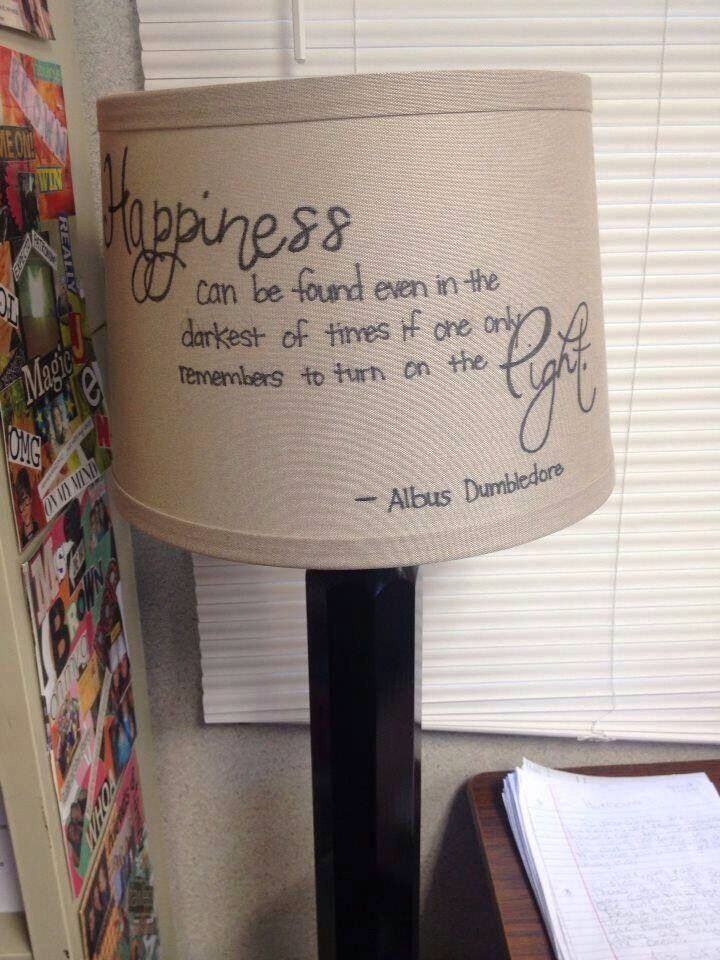 Harry Potter Home Decor Dumbledore Quote Light Lamp Craft DIY Cheap.  I bought the same lampshade at Wal-Mart for $14.00 + Tax, and then stenciled out the quote with pencil before tracing in sharpie. I'm no artist, but mine turned out pretty darn good!