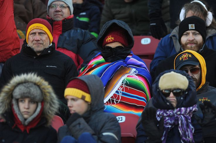 Iowa State fans watch the Iowa State and Texas Tech football game in the cold windy weather at jack Trice Stadium Saturday, Nov 19, 2016, in Ames, Iowa. Photo by Nirmalendu Majumdar/Ames Tribune