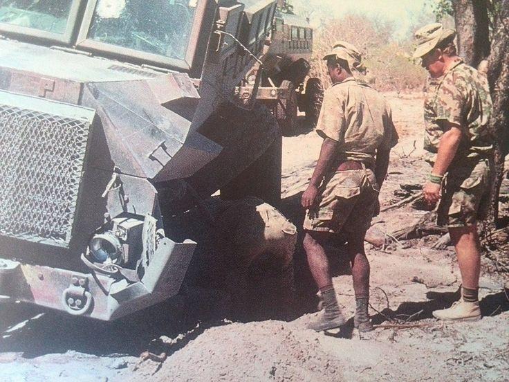 Koevoet Casspir hitting a landmine