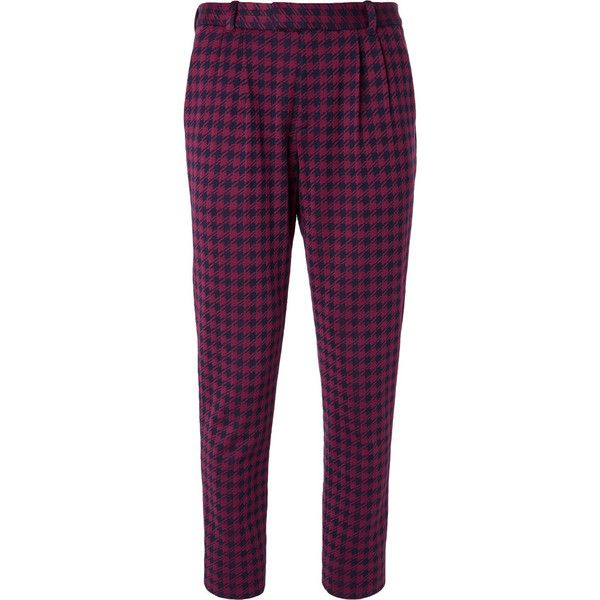 Gucci Marco Slim-Fit Pleated Houndstooth Woven Suit Trousers ($680) ❤ liked on Polyvore featuring men's fashion, men's clothing, men's pants, men's dress pants, mens suits with pleated pants, gucci mens pants, mens burgundy dress pants, mens navy dress pants and mens navy blue dress pants