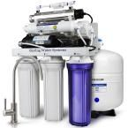 7-Stage w/ Booster Pump Alkaline Re-M Filter and UV Sterilizer 100GPD Under Sink Reverse Osmosis Water Filtration System, White