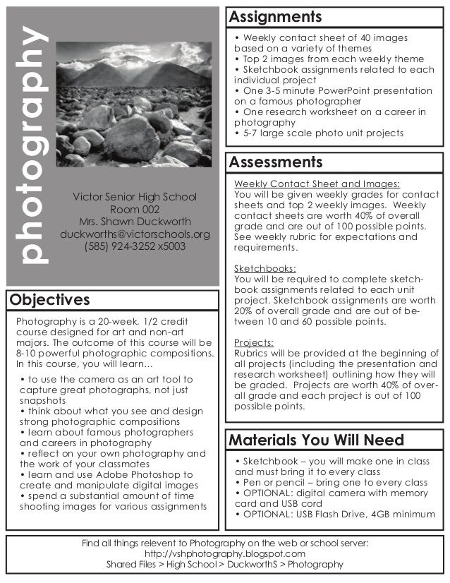 Photography Syllabus