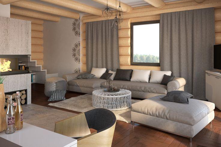 www.babiebale.pl dom z bali na sprzedaż, nowoczesny salon z narożnym kominkiem, połączony z kuchnią i jadalnią. Przeważają kolory ziemi współgrające z naturalnym kolorem ścian z bala.