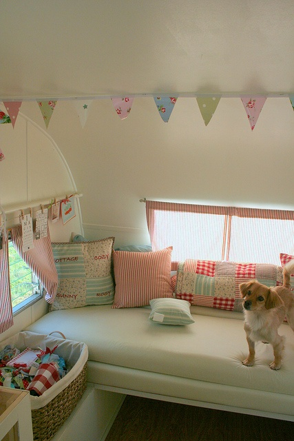 Happy little dog in a happy little trailer....need to make pillows and matching bunting!