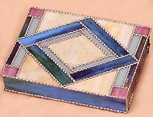 """Southwestern Design Stained Glass Jewelry Box - 8"""" x 10 1/2"""" - To see this and more, visit us at www.AccentOnGlass.com"""